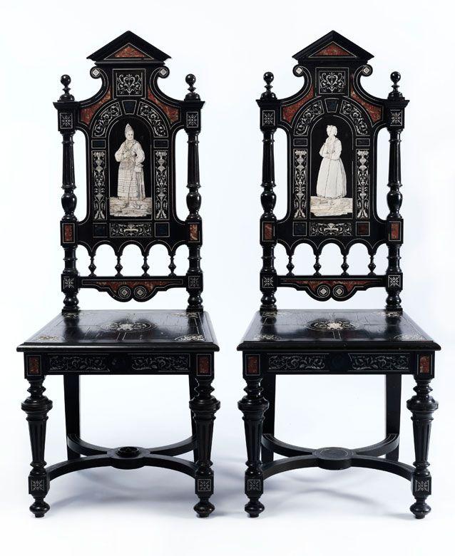 Im louis xiii stil ebonisiert mit ornament und for Stuhl italienisch