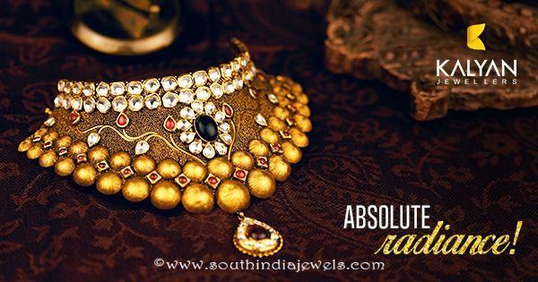 Gold Kundan Choker Necklace From Kalyan Jewellers Gold
