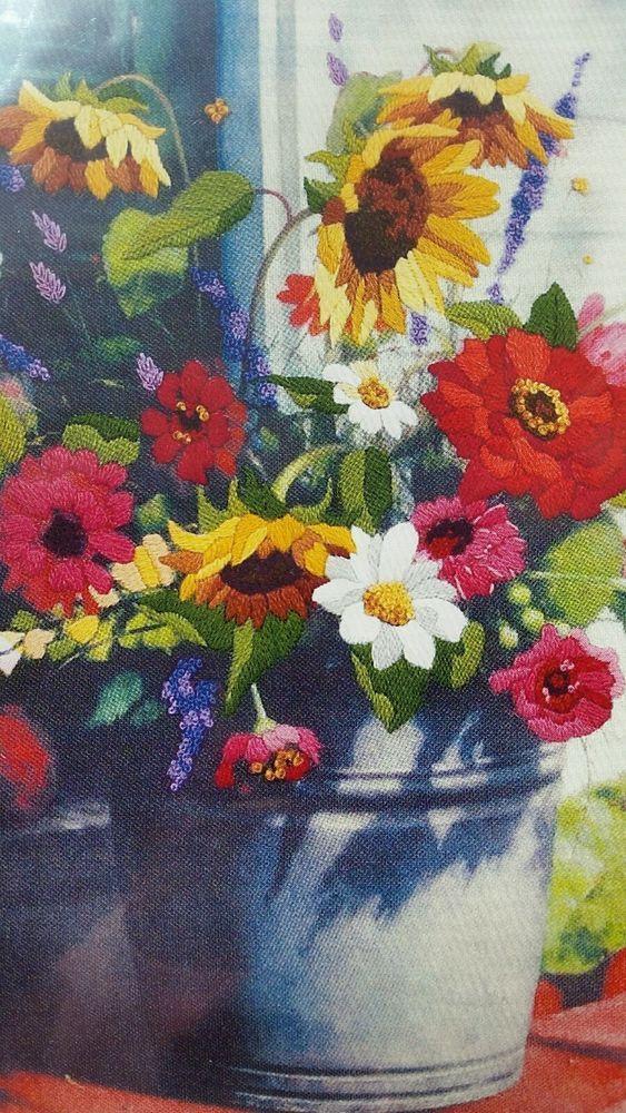Dimensions BUCKET OF FLOWERS ZINNIA SUNFLOWER DAISY Crewel
