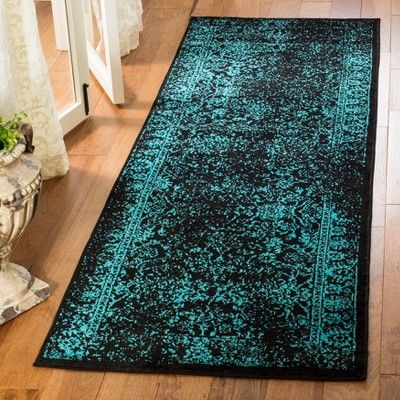2 6x8 Spacedye Design Runner Black Teal Black Blue Safavieh