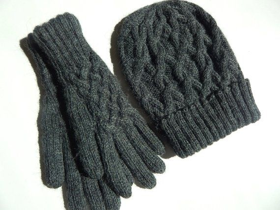 d609922e3b7 Ladies Alpaca Hat and Glove Set~Baby Alpaca Gloves~Baby Alpaca Hat~Cable  Knit Set-Winter Accessories-Gift for Her