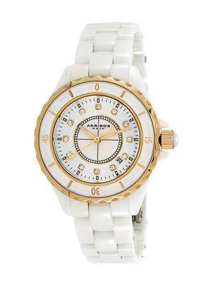 Akribos XXIV women's white ceramic and crystal watch