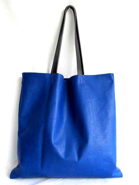 Blue Leather Tote Bag Waxed Bright By Sord 189 00