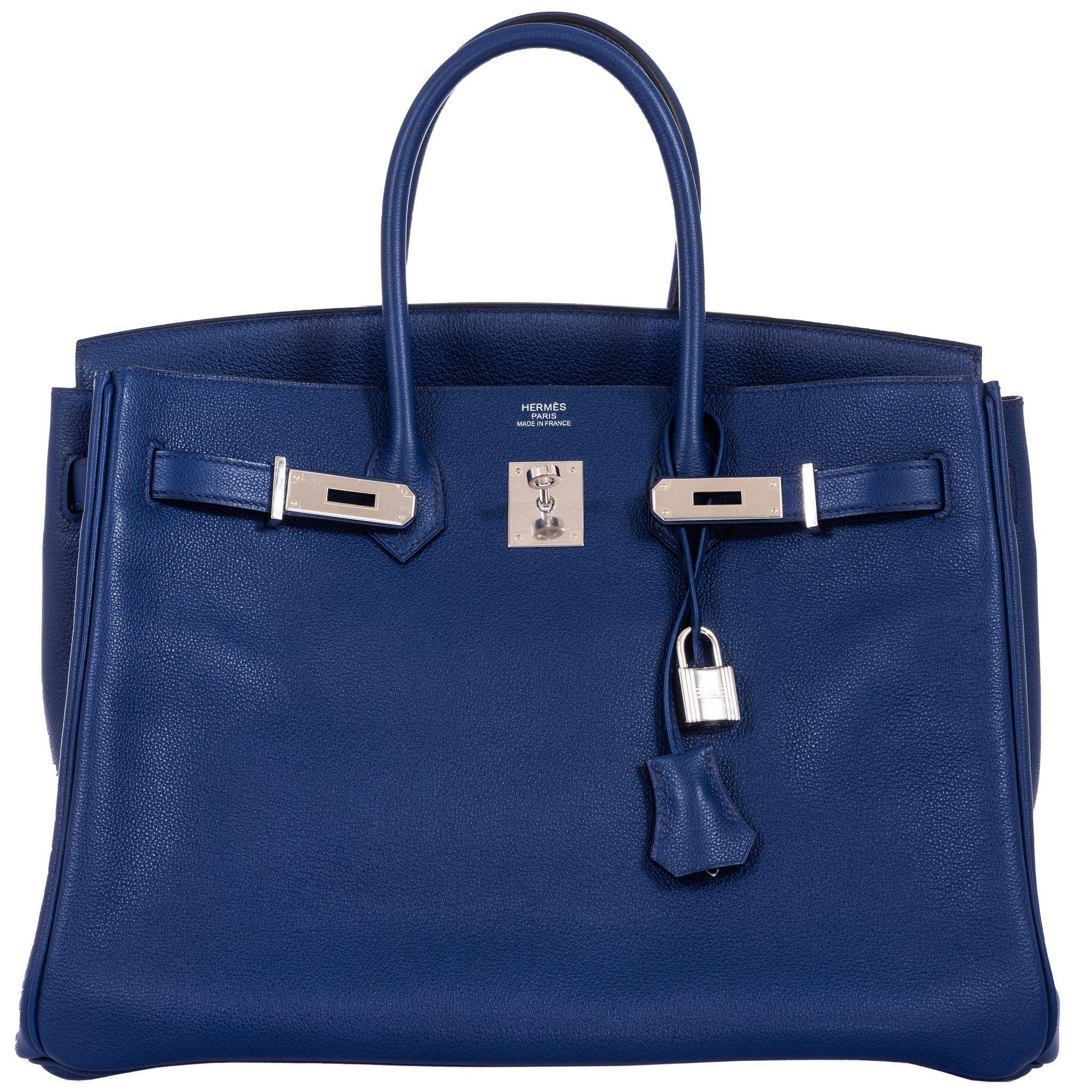 Hermes Birkin 35 Blue Sapphire Novillo Toile Printed Sea Surf Interior Palladium Hardware Special Edition Janefinds Hermes Birkin Hermes Handbags Birkin