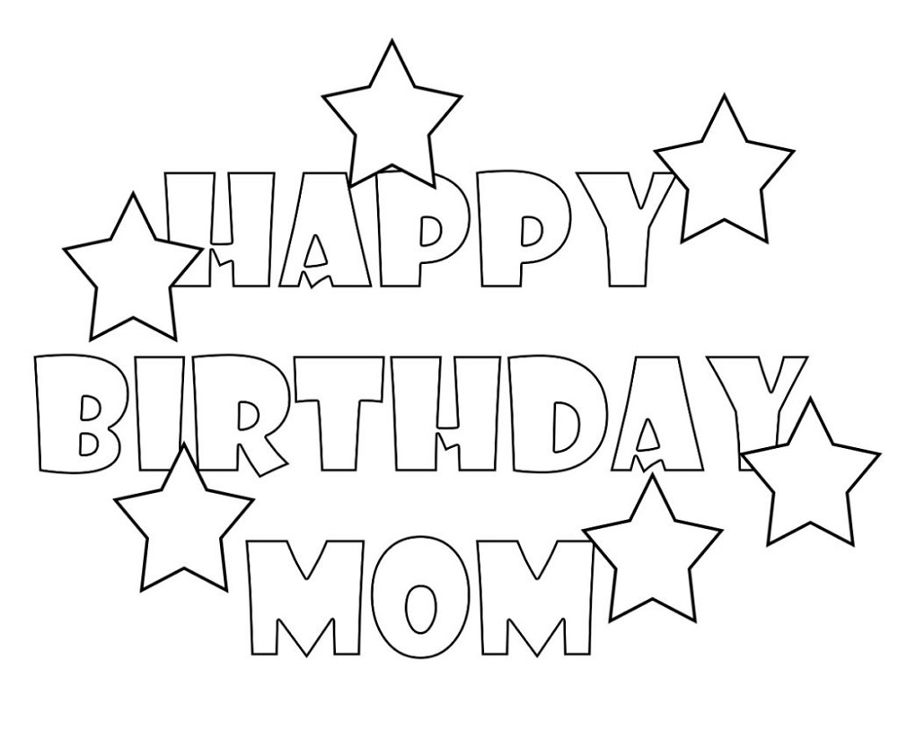 Happy Birthday Mom Coloring Page Worksheets | Happy ...
