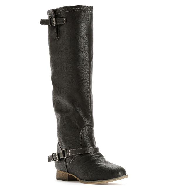 Black Knee High Flat Boot