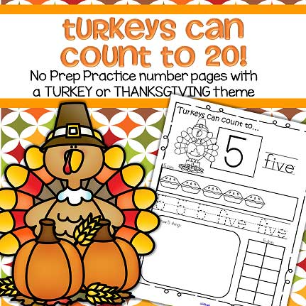 Thanksgiving Theme Number Practice Pages 1 20 No Prep In 2020 Thanksgiving Theme Turkey Theme Theme