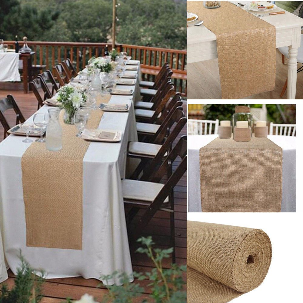 Natural Burlap Jute Table Runner Linen Rustic Wedding Banquet Party Table Decor