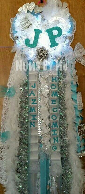 Tiffany blue senior homecoming mum with lights MegaHeart mum from Mums By MJ blue