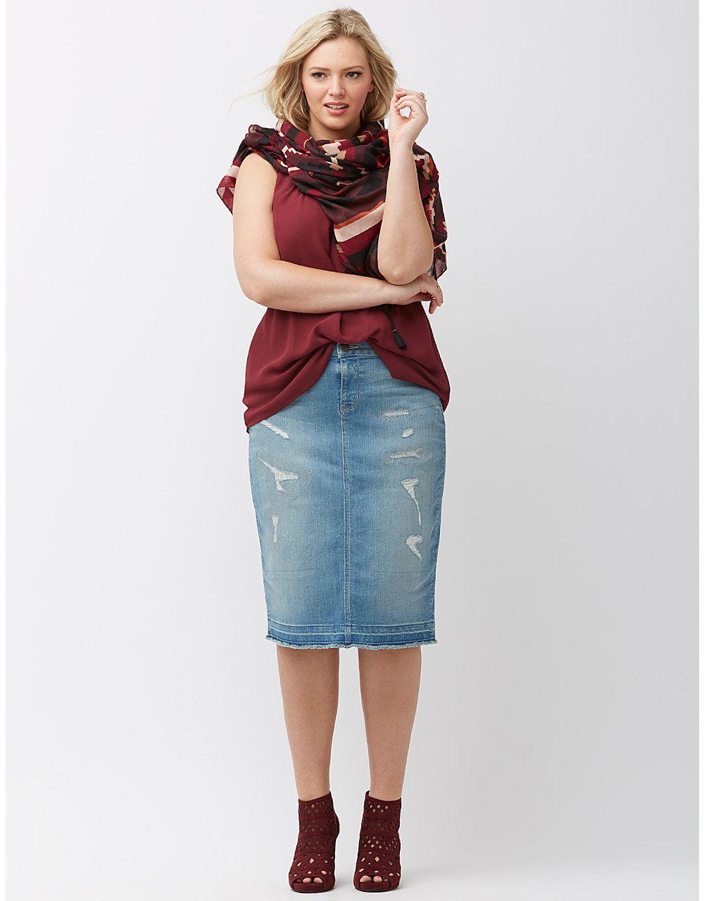 e9eb160d3b9 Plus Size Skirts. Destructed denim skirt by Lane Bryant