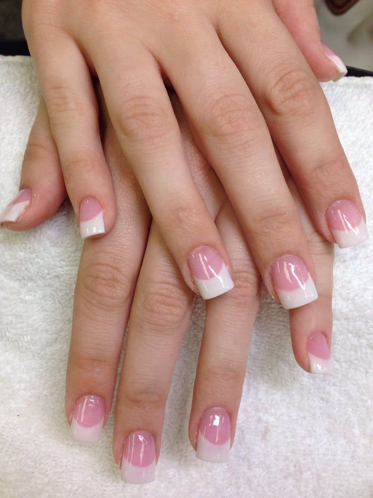 Cute White Tip With Pink Powder French Tip Acrylic Nails White Acrylic Nails French Acrylic Nails