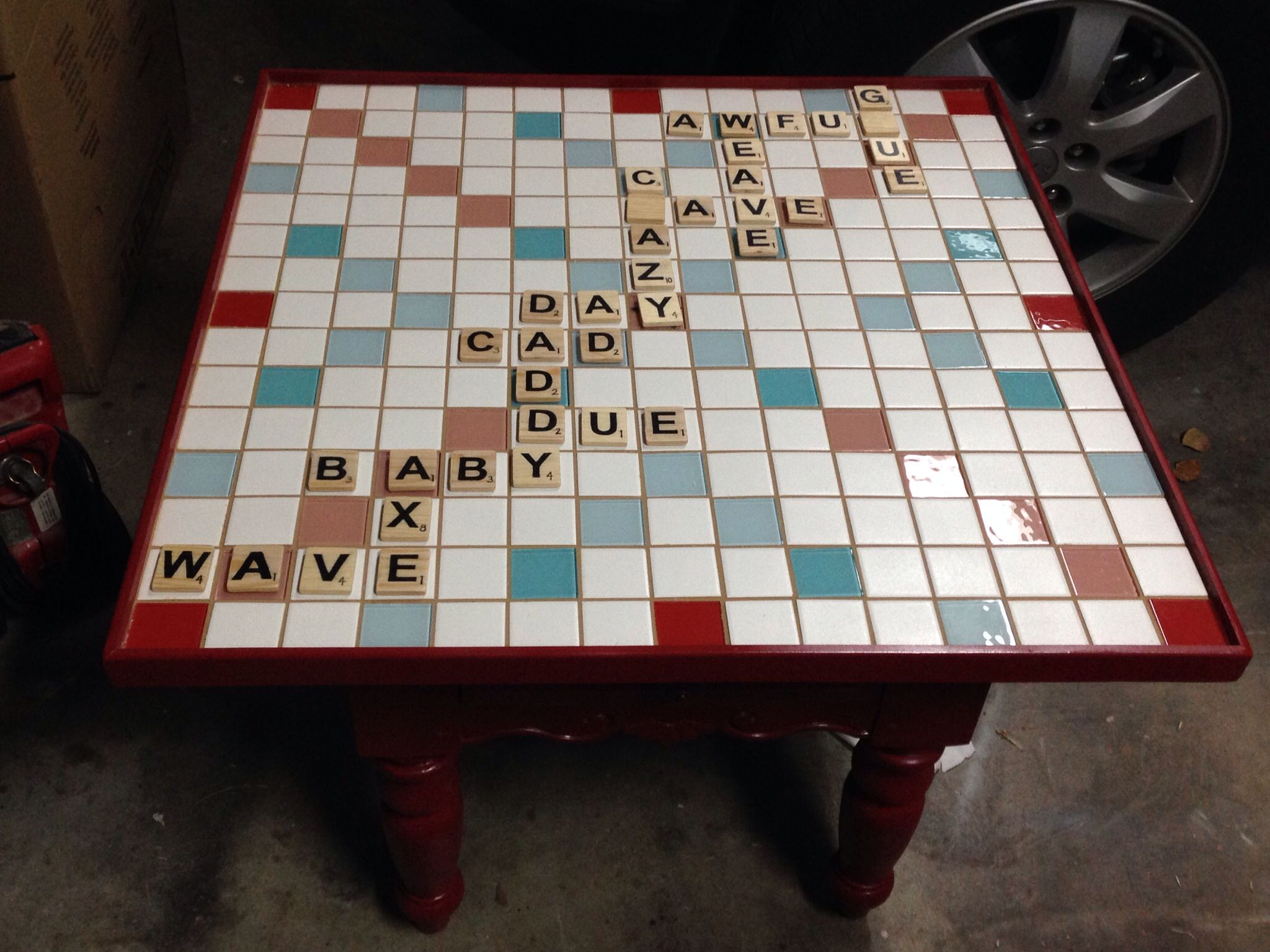 Scrabble board table 30x30 made from 2 ceramic and glass tiles scrabble board table 30x30 made from 2 ceramic and glass tiles dailygadgetfo Image collections