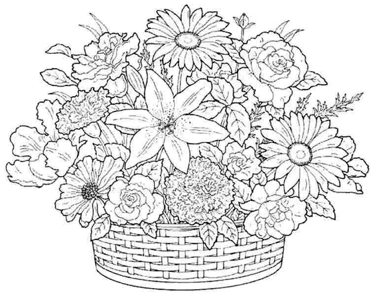 Beautiful And Various Flowers In A Basket Coloring Pages Printable | 600x757