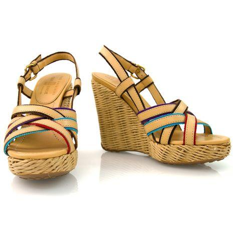 Car Shoe Beige Leather Wedge Platforms Sandals Shoes Slingbacks - SZ 36.5