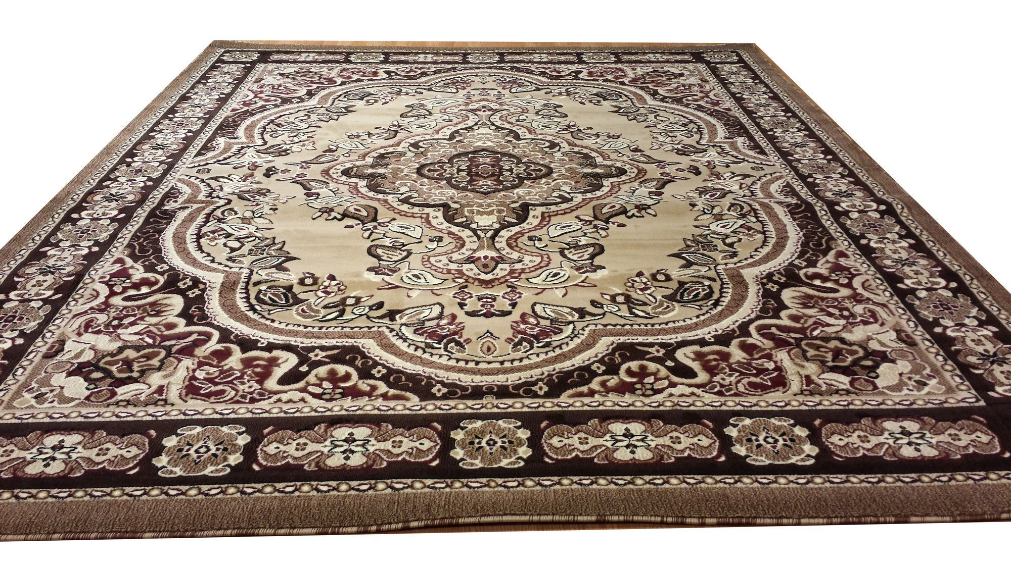 Hand-Carved Beige Area Rug