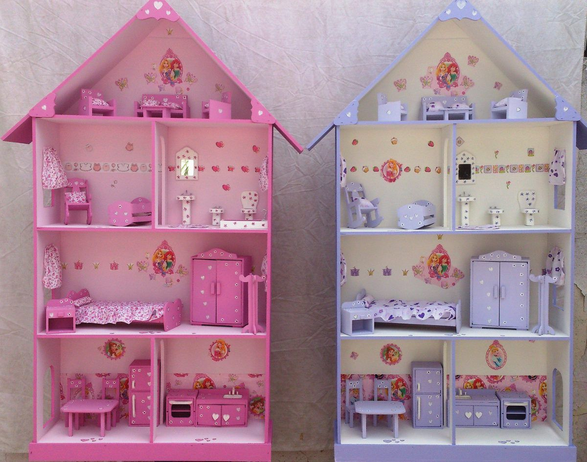 Casita de mu ecas barbie pintada y decorada con muebles for Muebles para barbie