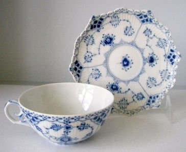 Waterford Wedgwood cups & saucers   Royal Copenhagen Blue Fluted Full Lace Tea Cups Saucers 1130   eBay