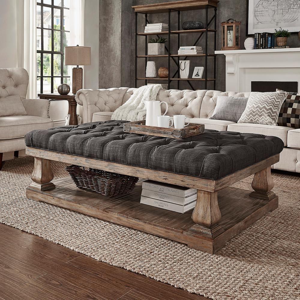 38 Small Yet Super Cozy Living Room Designs: HomeSullivan Segovia Dark Grey Pillowtop Coffee Table