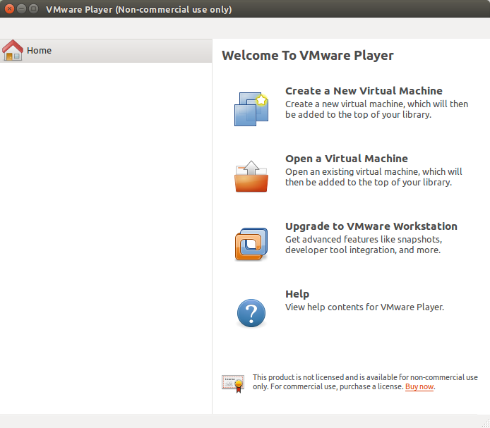 1  Launch the VMWare Player  When the VMWare Player opens