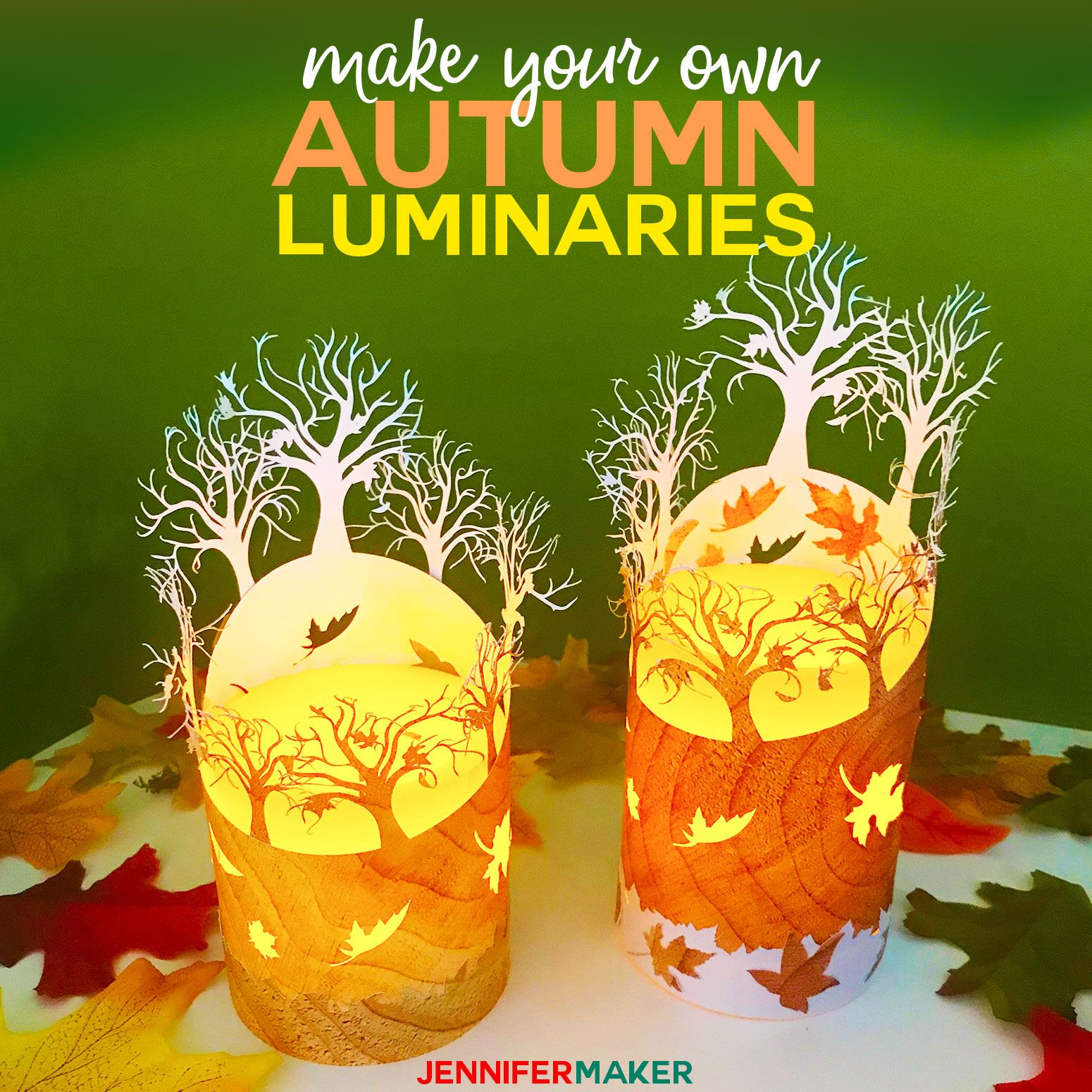 DIY Fall Luminary Autumn Leaves Fall paper crafts