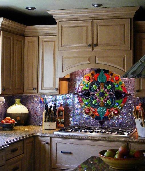 Kirk 39 S Glass Art I Wanted To Brighten Up The Backsplash And Walls With Color I Selected