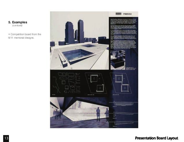 Furniture Design Presentation Board competition board from the 9/11 memorial designs. presentation