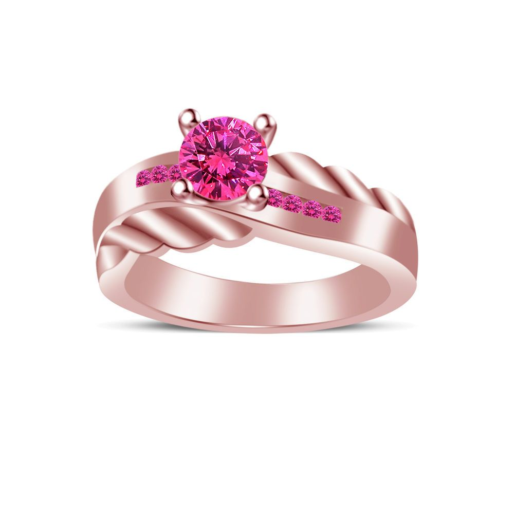 14k Rose Gold Over 925 Sterling Silver With Pink Sapphire Engagement ...