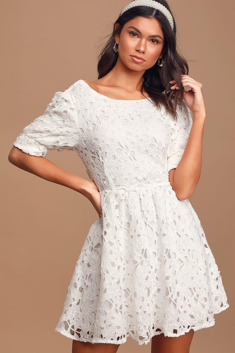 For A Moment White Lace Cutout Mini Skater Dress Mini Skater Dress Lace White Dress Lace Cutout [ 1125 x 750 Pixel ]