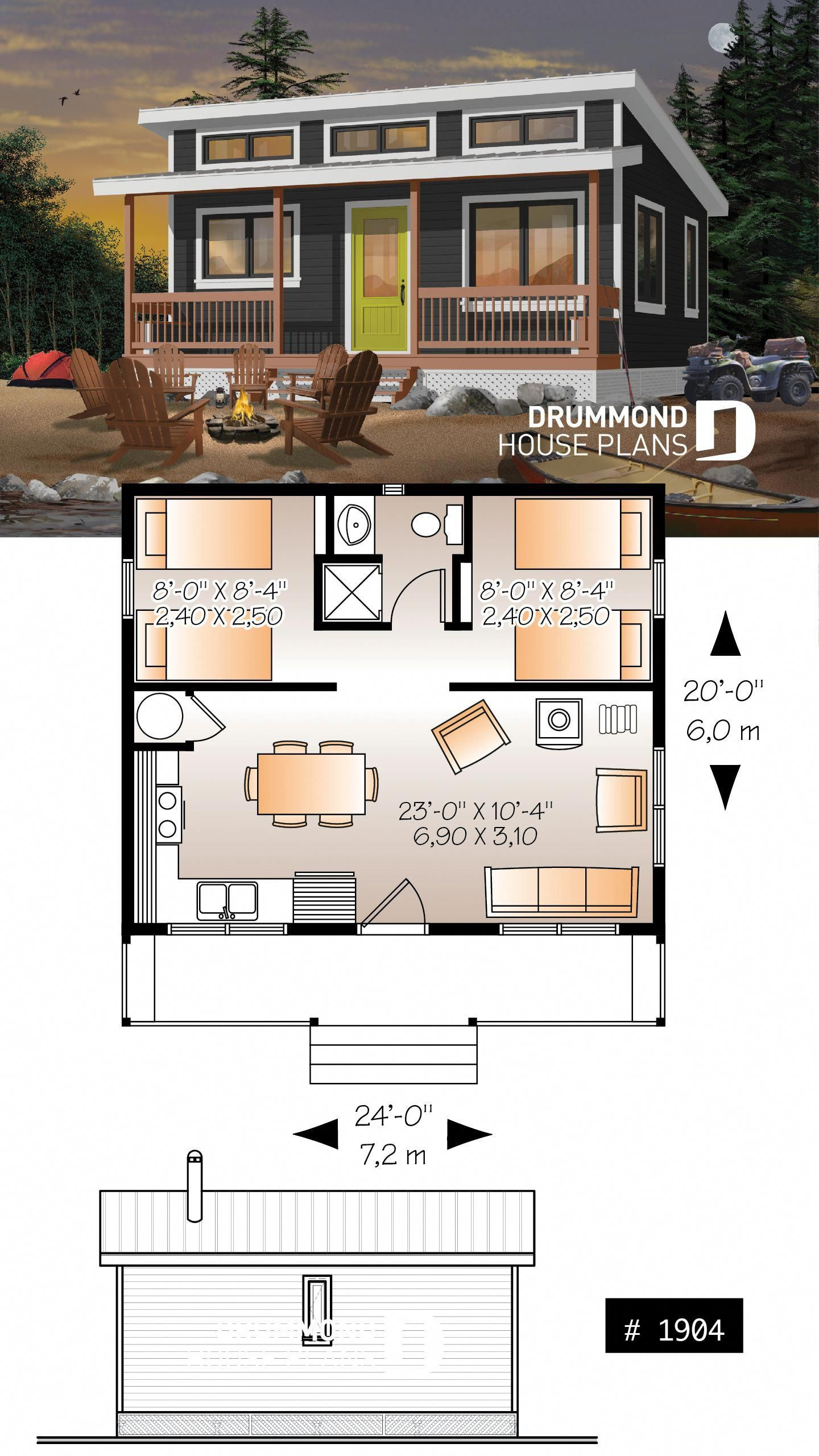 Affordable Small 2 Bedroom Cabin Plan Wood Stove Open Concept Low Budget Construction Cabinideas Cabin House Plans Tiny House Plans Tiny House Cabin