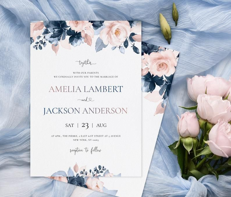 Wedding Invitation Template With Watercolor Dusty Blue And Etsy Wedding Invitation Templates Wedding Invitations Blush Wedding Invitations