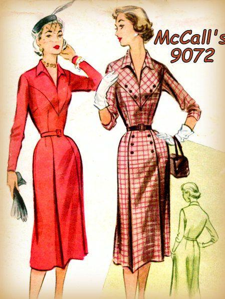 Vintage 1950s Women\'s Mod Sheath Dress Sewing Pattern McCall\'s 9072 ...