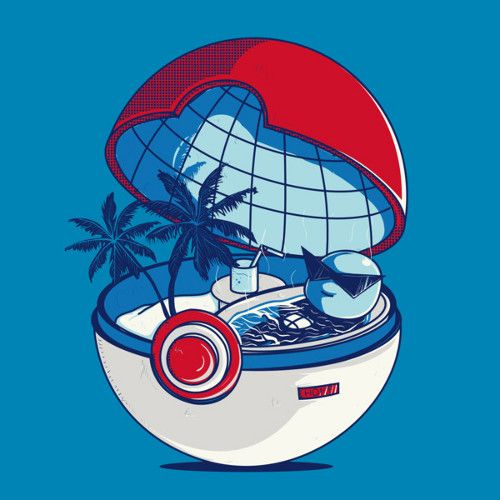 "Squirtle Poke Ball Beach Vacation ""BLUE POKEHOUSE"" BY DONNIE Just another day in pokedise. Buy at DesignByHumans"