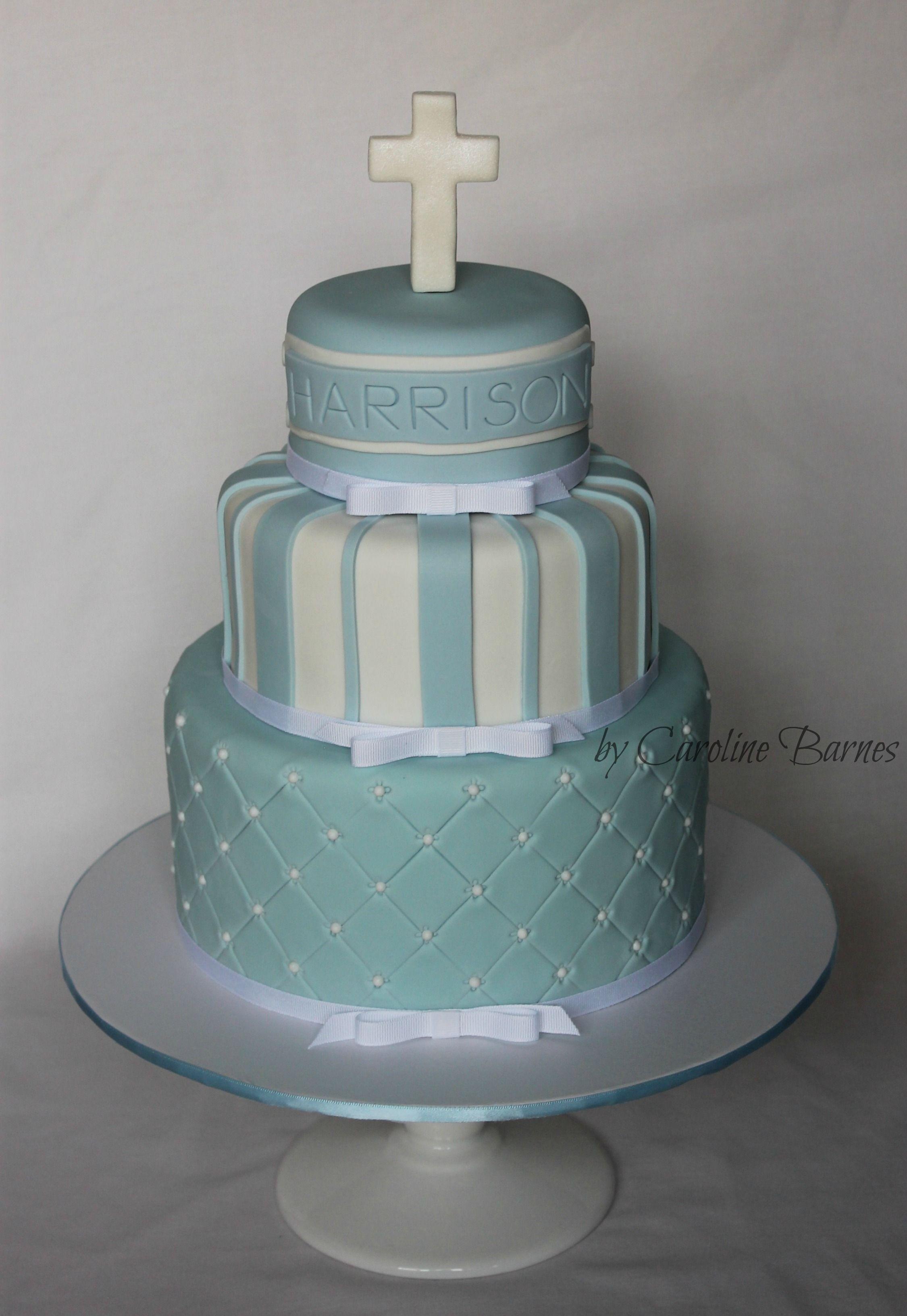 Blue And White Baptism Cake