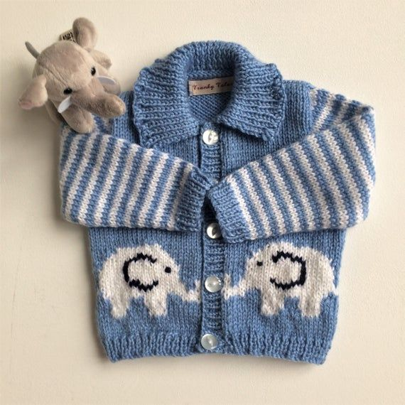 Photo of Baby boy jacker,Baby elephant jacket,Baby boy handknit jacket,Blue baby boy jacket,White elephant jacket,0-6 months jacket,Baby boy clothes,