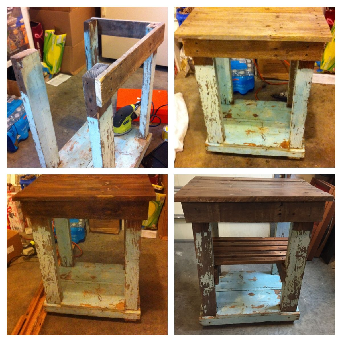 Repurposed old bench table: This table was cleaned with TSP and given a new top  and shelf with an old pallet which was stained with Minwax oak color wood stain and sealed all over with Amy Howard at Home Matte Sealer.  Love!