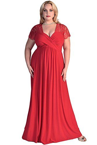 LALAGEN Womens Lace Sleeve V Neck Plus Size Evening Maxi Dress Gown
