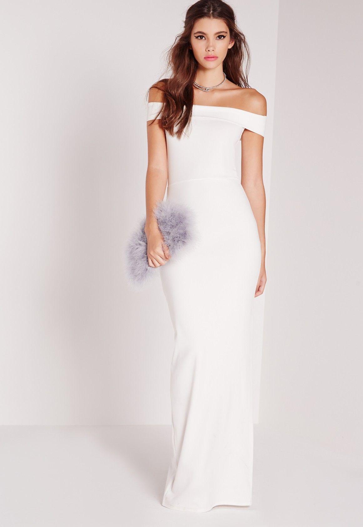 Missguided Bardot Maxi Dress White White Maxi Dresses Stunning Wedding Dresses Maxi Dress