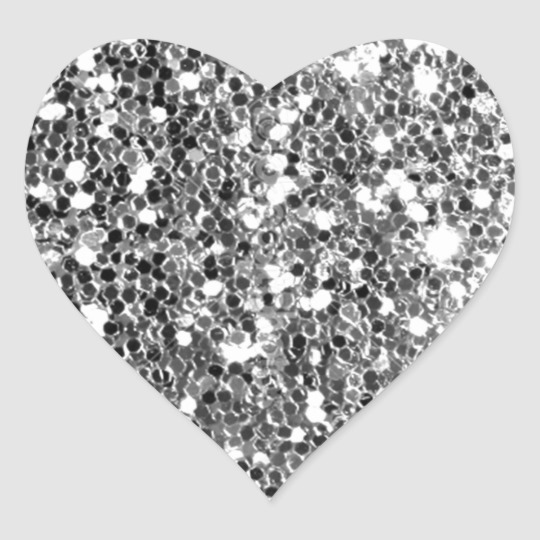 Glitter Look Solid Silver Sparkle Heart Sticker Zazzle Com Heart Stickers Glitter Hearts Glitter