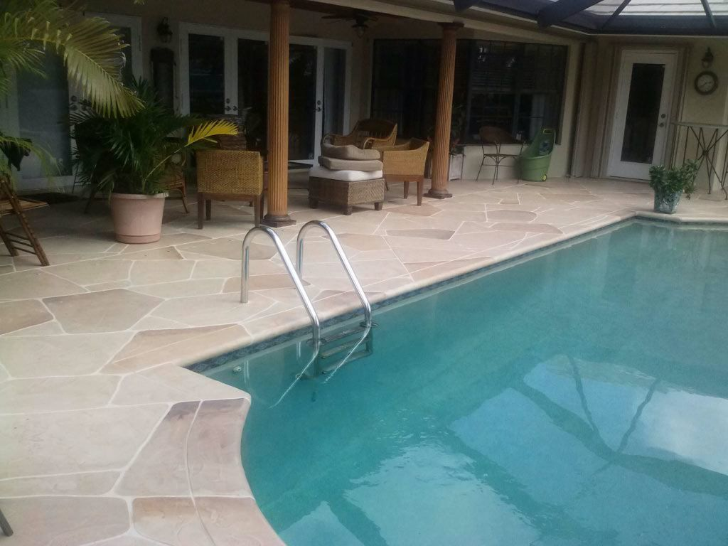 Decorative Concrete Overlay For Pool Deck Remodeling Job.