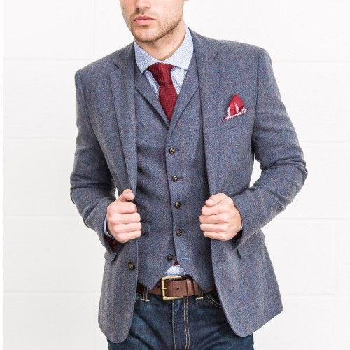 b7590e136ae8 HARRY BROWN Blue Heritage Check Tailored Fit Blazer £69.00