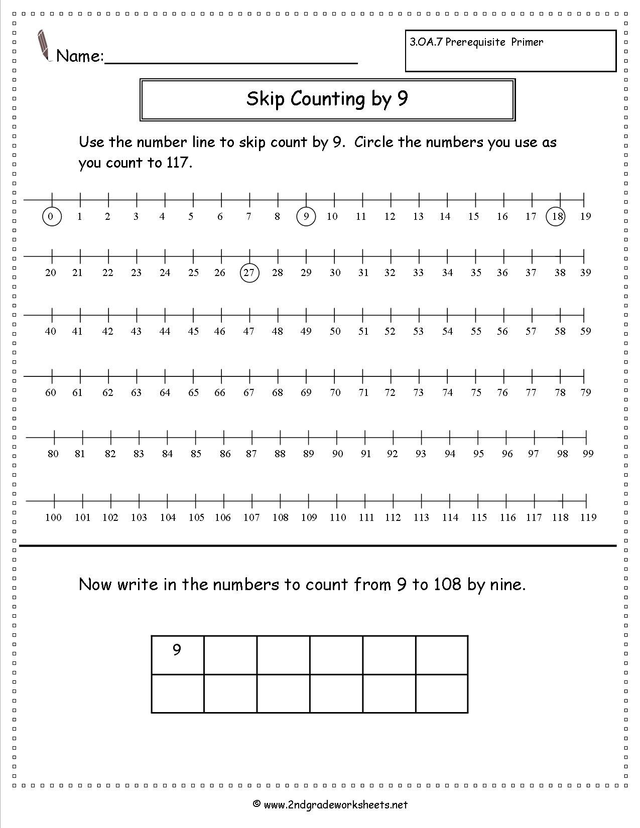 Skip Counting By Nine Worksheet