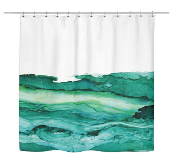 Ocean Green Marble Shower Curtain Marble Showers Green Marble
