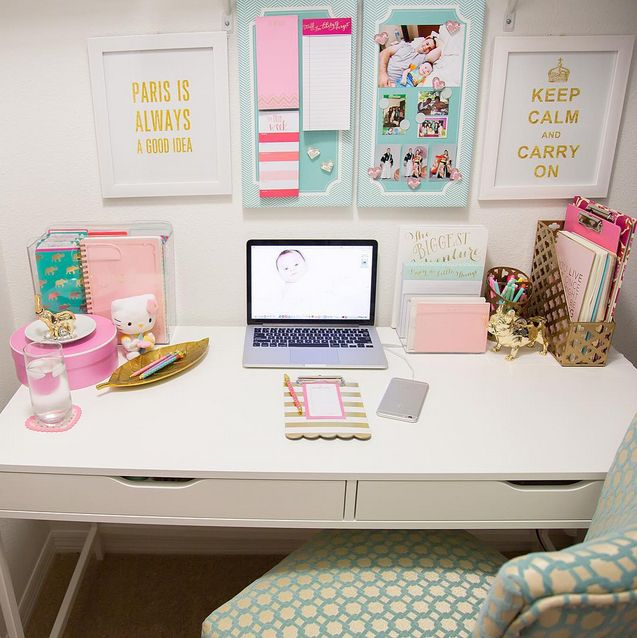 Desk decor google search work desk ideas pinterest for Bedroom desk ideas