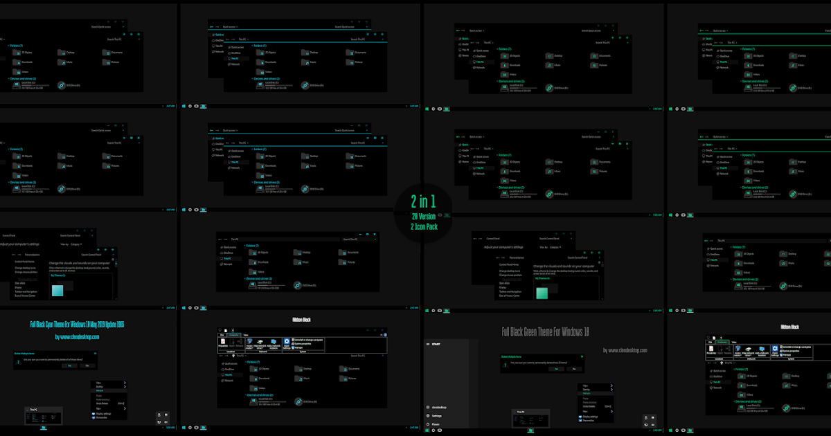 Full Black Cyan and Green Theme Windows10 May 2019 Update