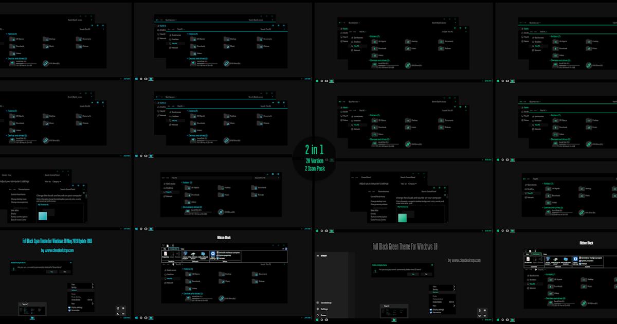 Full Black Cyan and Green Theme Windows10 May 2019 Update