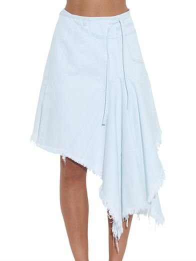 Marques'Almeida Frayed asymmetric denim wrap skirt