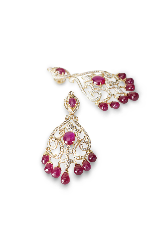 Designer Farah Khan Ali / Ruby & diamond chandelier earrings ...