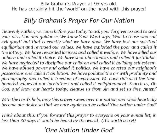 Billy graham prayer for the nation