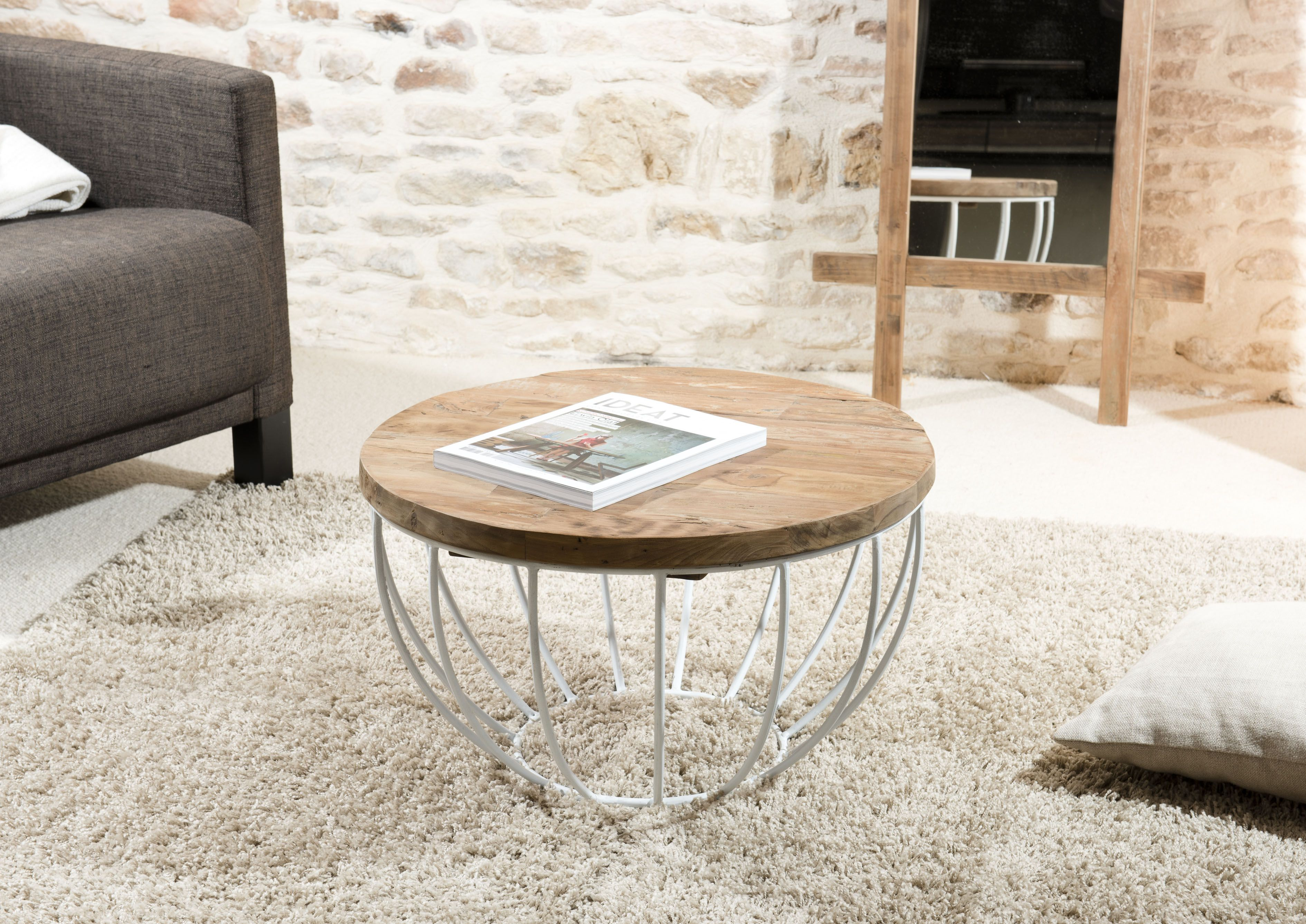 petite table basse ronde teck recycle