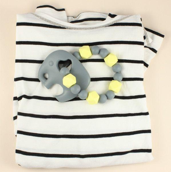 Schnullerketten - Beißkette, Beißring mit Elefant - grey & lemon - ein Designerstück von unicorn_mama_design bei DaWanda